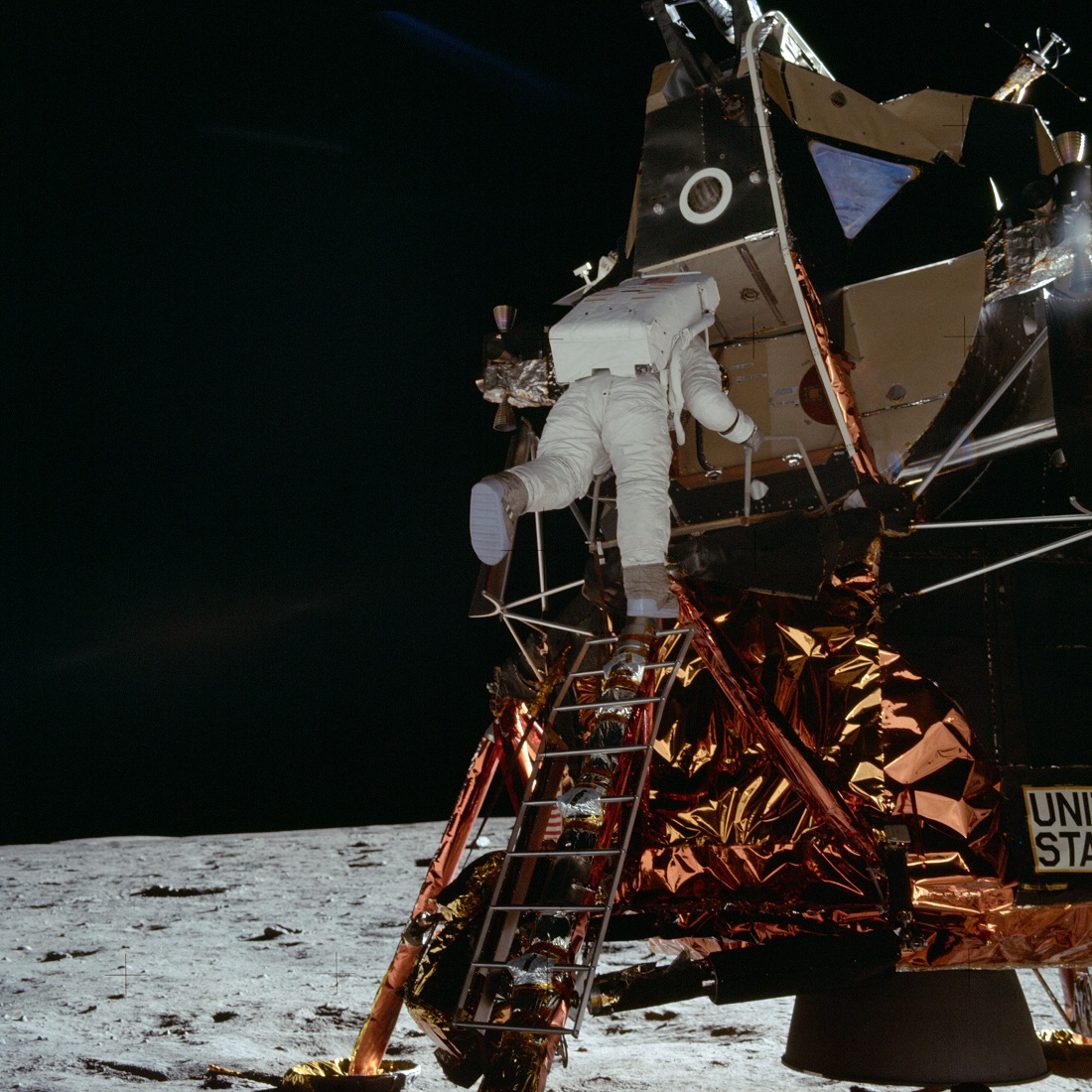 Aldrin descends lunar module NASA